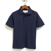 Boys Short Sleeve Pique Polo w/ White -OR- Navy Embroidery