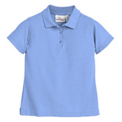 Girls Short Sleeve Pique Polo w/ Navy Embroidery